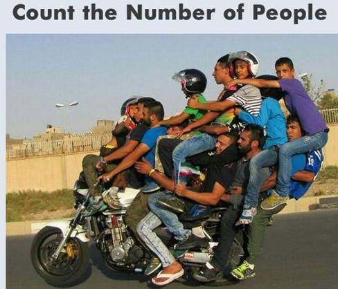 这辆摩托车上究竟载了多少人?